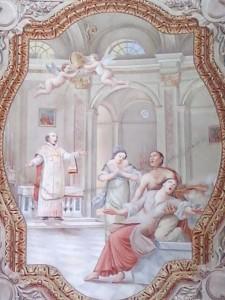 Chiesa di San Bernardo - affresco volta centrale - Esorcismo di San Bernardo