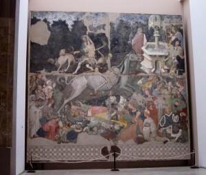 Maestro anonimo,Il Trionfo della  Morte,1445-46 circa. Affresco staccato, 600 cm×642cm. Palermo, Palazzo Abatellis